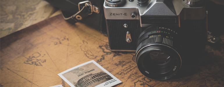Vintage Camera and Photos on Map