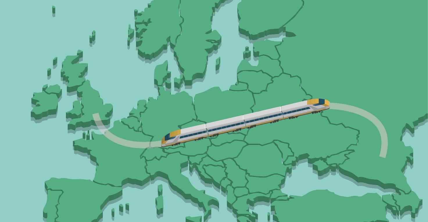 Europe train cartoon